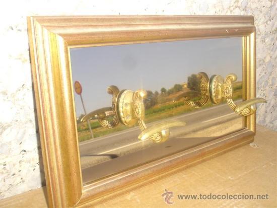 Antigüedades: percheron con espejo madera dorada - Foto 3 - 31907308