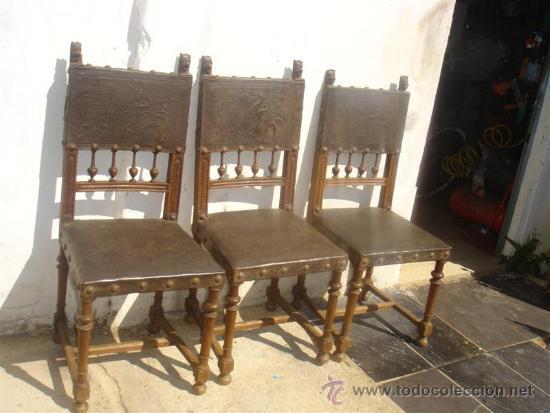 Antigüedades: 3 sillas del renacimiento, con cabezas talladas en los respaldo - Foto 2 - 31918507