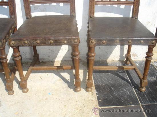 Antigüedades: 3 sillas del renacimiento, con cabezas talladas en los respaldo - Foto 3 - 31918507