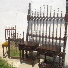 Antigüedades: DORMITORIO DE MADERA DE CASTAÑO SIN ARMARIO. Lote 31918799