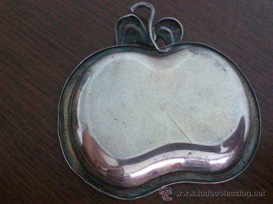 Antigüedades: Antiguo alhajero de plata de ley contrastada con forma de manzana . - Foto 3 - 58656301