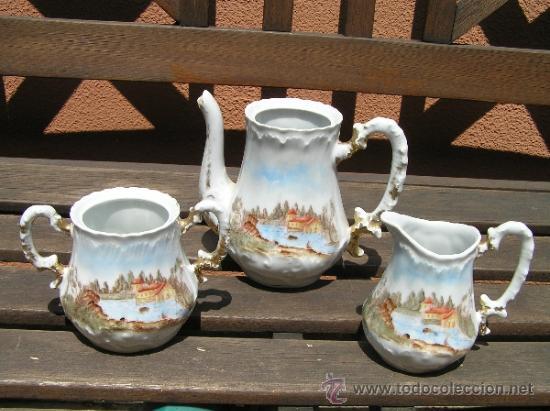 ANTIGUO JUEGO DE TÉ. (Antigüedades - Porcelanas y Cerámicas - Inglesa, Bristol y Otros)