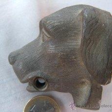 Antigüedades: ANTIGUA CABEZA DE PERRO EN BRONCE. CLAVO PASADOR. S. XIX. Lote 31945553