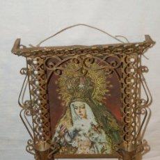 Antigüedades: VIRGEN POSTAL Y MARCO HOJALATA C 1940. Lote 31958363