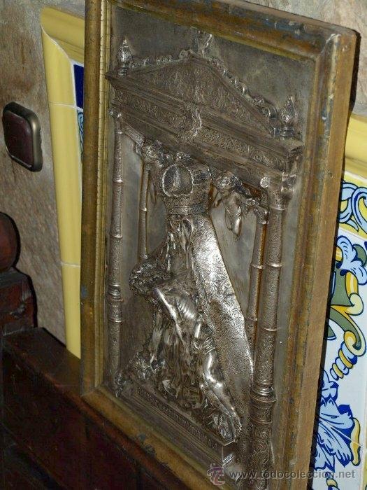 Antigüedades: Virgen piedad. Cobre plateado. S xix. - Foto 2 - 31958646