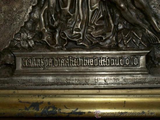 Antigüedades: Virgen piedad. Cobre plateado. S xix. - Foto 3 - 31958646