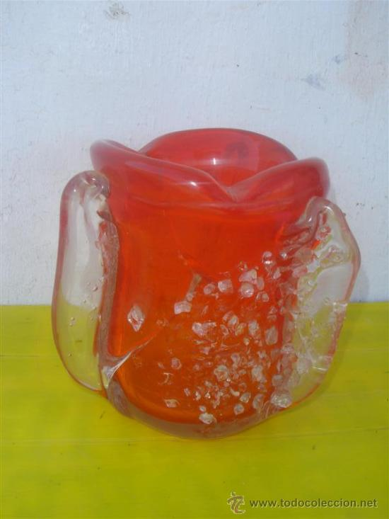 Antigüedades: jarron de cristal de murano rojo - Foto 3 - 31963695