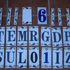 Antigüedades: 22 AZULEJOS DE LETRAS,NUMEROS Y TERMINACIONES - MIDEN 15X7 CM LAS LETRAS Y NUMEROS ,,6 TERMIN 15X2,5. Lote 31994057