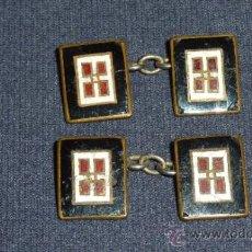 Antigüedades: PAREJA DE GEMELOS ESMALTADOS MUY ANTIGUOS, VER FOTOS.. Lote 31996421