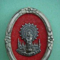 Antigüedades: MEDALLA RELIGIOSA DE SOBREMESA ANTIGÜA EN PLATA (N.S. DEL PILAR). 21 GRS. DE PESO. . Lote 32014550