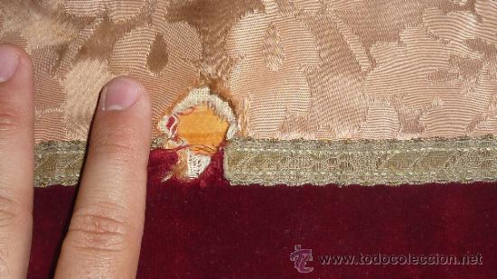 Antigüedades: mantel religioso bordado para mesita, antiguo - Foto 7 - 32025720