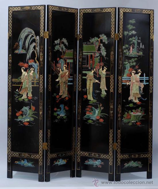 Biombo tipo laca china con aplicaciones en past comprar muebles auxiliares antiguos en - Biombos chinos antiguos ...