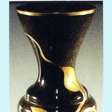 Antigüedades: JARRON DE CRISTAL DE -MURANO- DOBLE TECNICA, PINTADO A MANO EN ORO 24 KTES.TEMA HOJAS. 55 CM.FIRMADO. Lote 32043610