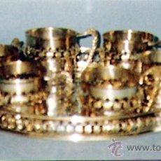 Antigüedades: JUEGO DE 7 PIEZAS EN LATON PLATEADO 918 M/M. CON PUNZON GRIEGO, COMPUESTO POR BANDEJA Y 6 PORTATAZAS. Lote 32046718