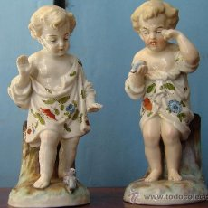 Antigüedades: PORCELANA PAREJA DE FIGURAS NIÑAS . Lote 32054165