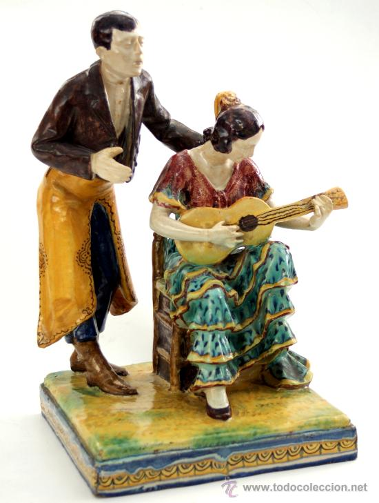 ESCULTURA DE MANUEL GARCÍA MONTALVAN - SEVILLA - TRIANA - S. XIX - XX (Antigüedades - Porcelanas y Cerámicas - Triana)