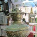Antigüedades: ANTIGUO QUINQUE METALICO, TRANSFORMADO EN LAMPARA. Lote 32075009