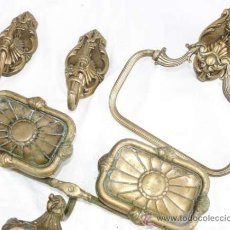 Antigüedades: GRAN CONJUNTO APLIQUE APLIQUES BRONCE IMPERIO SET DE BAÑO ANTIGUO PERCHERO TOALLERO JABONERA. Lote 32080704