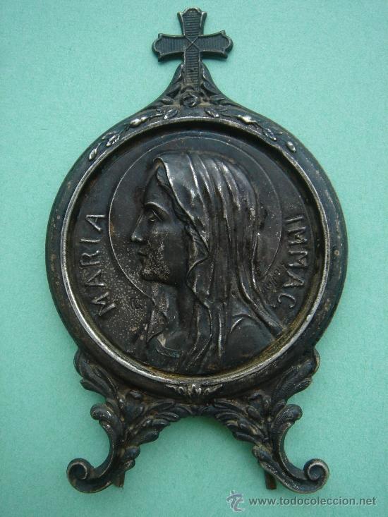 MEDALLA RELIGIOSA DE SOBREMESA ANTIGÜA EN PLATA (MARÍA INMAC.). (Antigüedades - Religiosas - Medallas Antiguas)