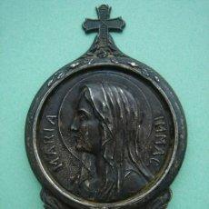 Antigüedades: MEDALLA RELIGIOSA DE SOBREMESA ANTIGÜA EN PLATA (MARÍA INMAC.).. Lote 32093512
