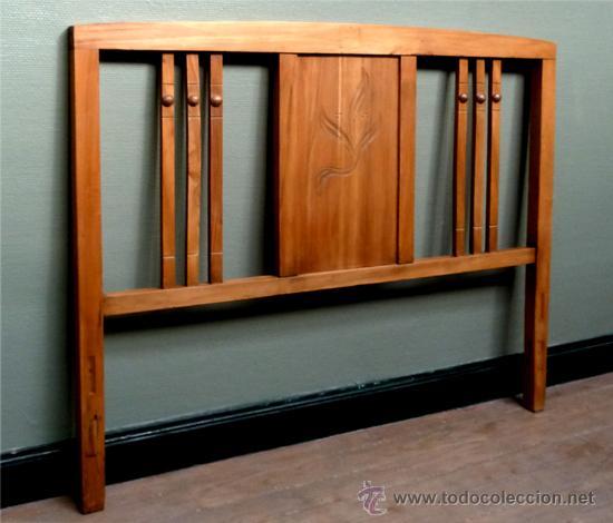 Cama de madera antigua modernista cabecero anti comprar - Camas de madera antiguas ...