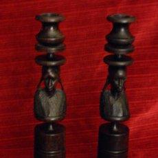 Antigüedades: ORIGINALES PORTAVELAS EN MADERA . Lote 32096987