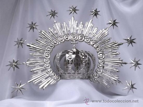 CORONA CON DIADEMA PARA VIRGEN. MIDE 9 CMS. DE DIAMETRO. (Antigüedades - Religiosas - Ornamentos Antiguos)