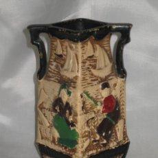 Antigüedades: MUY ANTIGUO E INUSUAL JARRÓN MODERNISTA HOLANDÉS EN TERRACOTA POLICROMADA CON RELIEVES, SELLADO . Lote 32106233