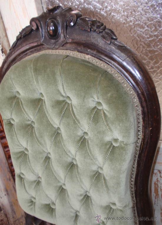 Antigüedades: Silleria antigua isabelina. De haya, terciopelo. 12 sillas - Foto 3 - 26638671