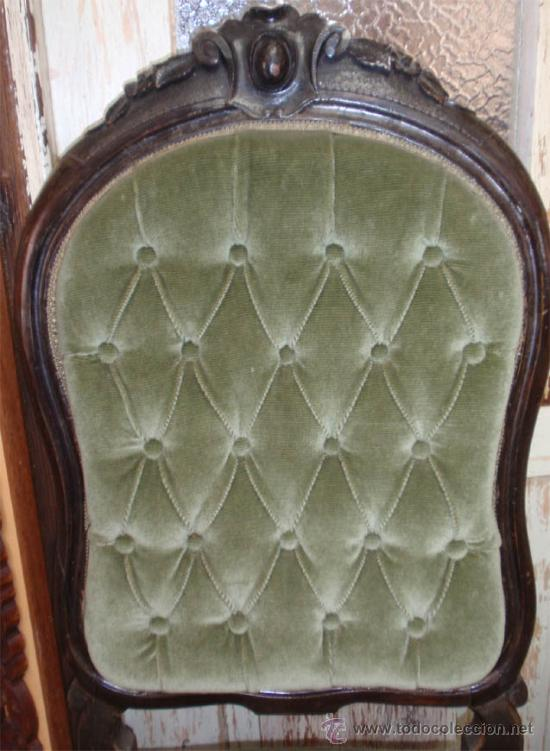 Antigüedades: Silleria antigua isabelina. De haya, terciopelo. 12 sillas - Foto 5 - 26638671