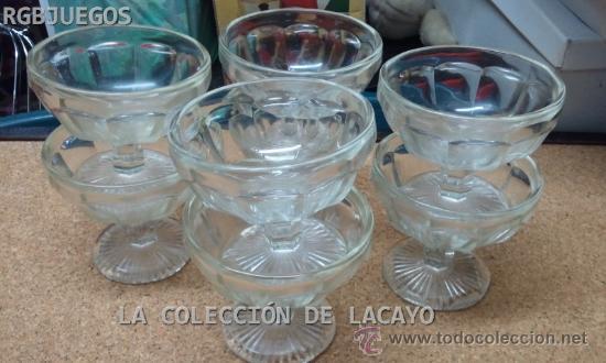 8 COPAS ANTIGUAS DE CRISTAL DE HELADO TALLADAS (Antigüedades - Cristal y Vidrio - Otros)