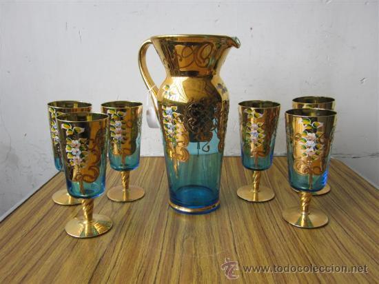 Jarra y seis copas cristal de murano de colo comprar for Copas de cristal