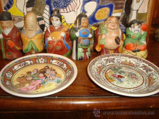 ANTIGUO LOTE DE SEIS FIGURITAS Y DOS PLATITOS ORIENTALES. (Antigüedades - Porcelanas y Cerámicas - Otras)