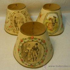 Antigüedades: 3 PANTALLAS PEQUEÑAS ANTIGUAS DE CARTULINA DECORADAS A MANO. Lote 32175469
