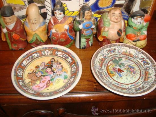 Antigüedades: antiguo lote de seis figuritas y dos platitos orientales. - Foto 2 - 32172309
