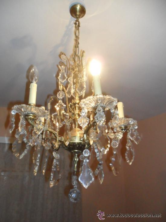 L mpara ara a en bronce y l grimas de cristal comprar - Lamparas de arana antiguas ...