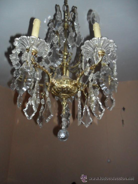 L mpara ara a en bronce y l grimas de cristal comprar - Lamparas cristal antiguas ...