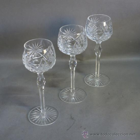 Tres copas de cristal tallado bohemia 1930 comprar for Copas bohemia