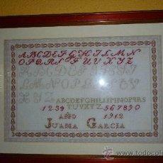 Antigüedades: ABECEDARIO PUNTO DE CRUZ 1912. Lote 32217341