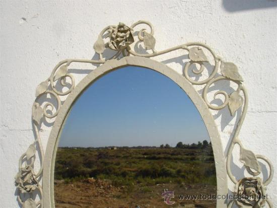 Antigüedades: espejo de hierro rustico - Foto 2 - 32273435