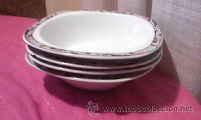 Antigüedades: Lote de 4 platos hondos cuadrados marca MITTERTEICH - BAVARIA GERMANY Modelo ANGELA. - Foto 2 - 32309322