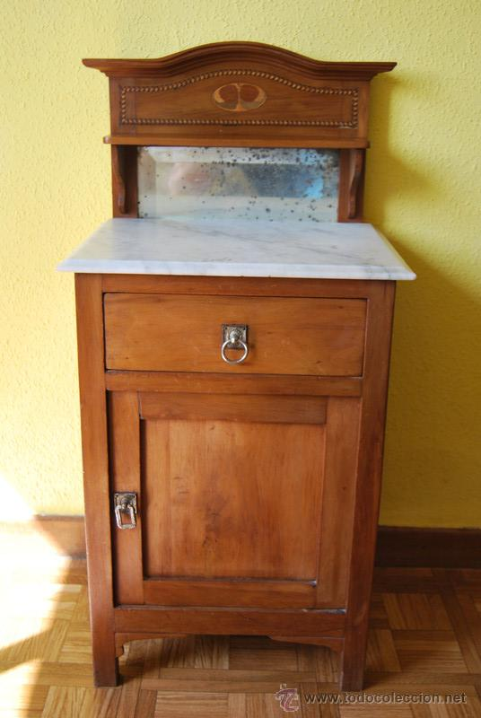 Antigua mesa inglesa de madera marmol y espej comprar for Mesas de noche de madera