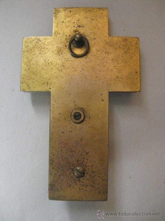 Antigüedades: CRUZ PILA BENDITERA ESMALTE SOBRE FONDO DE MARMOL VERDE VETEADO - PRECIOSA-LIQUIDACION COLECCION - Foto 2 - 32334091