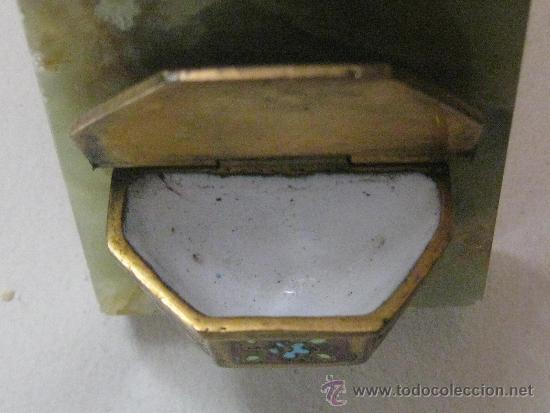 Antigüedades: CRUZ PILA BENDITERA ESMALTE SOBRE FONDO DE MARMOL VERDE VETEADO - PRECIOSA-LIQUIDACION COLECCION - Foto 3 - 32334091