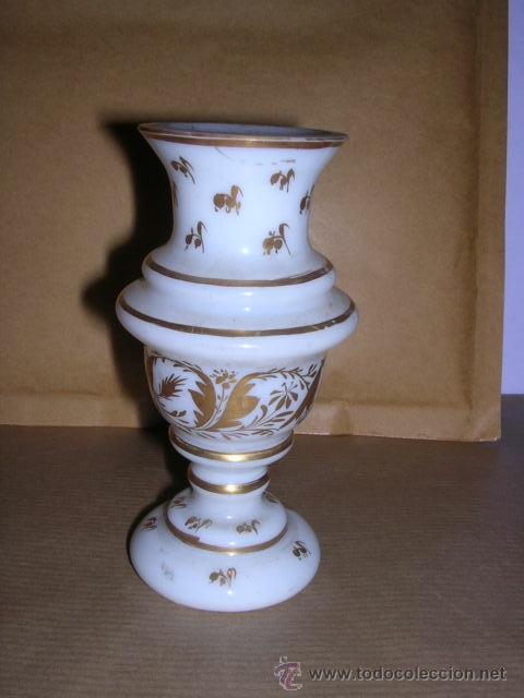 Antigüedades: ANTIGUO JARRON DE OPALINA Y DORADOS DE LA GRANJA , 11,5 CM. DE ALTO - Foto 2 - 32342354