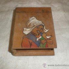 Antigüedades: CAJA DE MADERA EN FORMA DE LIBRO. Lote 32342751