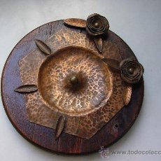 Antigüedades: CENICERO ANTIGUO MADERA- COBRE.. Lote 32342940