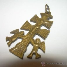 Antigüedades: ANTIGUA Y PEQUEÑA CRUZ DE BRONCE DE CARAVACA.. Lote 32353903