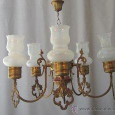Antigüedades: LAMPARA DE TECHO EN BRONCE CON 5 LUCES. Lote 32356145