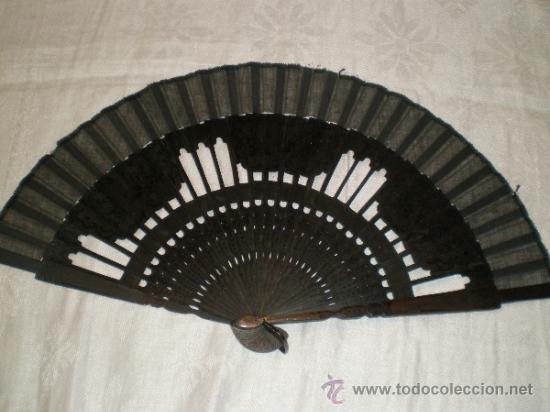 ABANICO NEGRO DE LUTO (Antigüedades - Moda - Abanicos Antiguos)